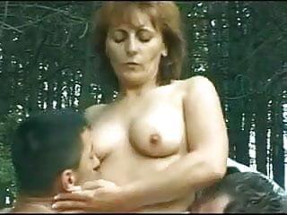 Older milf sluts - Guys gangbang this older slut outdoor bvr