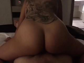 Tattooed girl get big cock POV