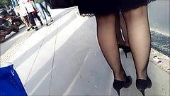 Two Girls Sexy Black Pantyhose