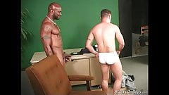 Black dudes sharing the ass of a white guy