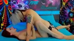 Hot slim teen lesbians fucking with strapon