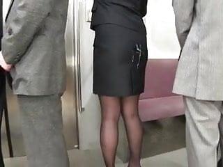 Cum on japanes office worker's skirt in public bukkake 3