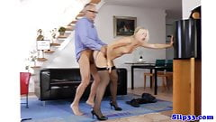 Stockinged euro amateur fucks old brit guy