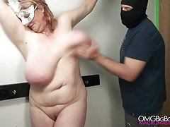 Slapping my slave's big tit until she comes