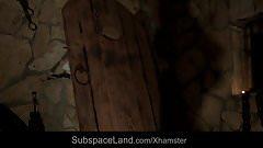 Medieval discipline for bondage blonde slave at dark tower