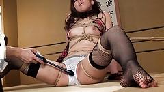 Submissive slut, Sayumi Matsushita got a lesson in toy inser