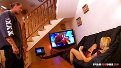 Wife watches TV while being penetrated hard