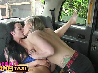 Female Fake Taxi Horny lesbians eat wet pussy