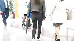Brunette with good ass in leather jacket
