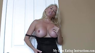 Eat a hot load of cum for me you little whore CEI