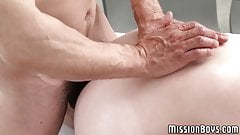 Handsome pupil breeding with hunk minister passionately