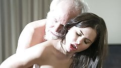 Teen Interrupts Grandpa from Yoga And Sucks his Cock wet