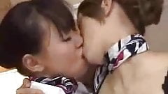 asian lesbians with silk scarves kissing