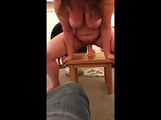 My young slut fighting with a 9 inch dildo