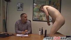 Twink intern has bareback business at boss office