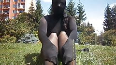 girl in full nylon encasement