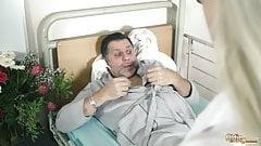 Teen nurses fuck old grandpa in a fake hospital bed