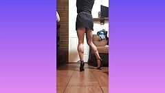 Short dress and black high heel sandals