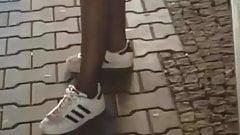 Public Voyeur Teen in Panthose and Sneakers