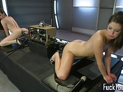 Lesbians pussy fuck double ended dildo machine