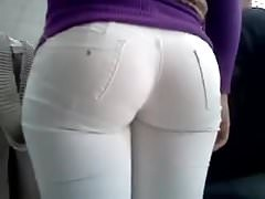 ASS IN WHITE JEANS