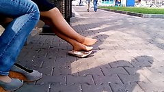 Candid mature shoeplay feet nylons cafe