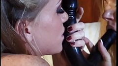Horny lesbian chicks use two dildo in girls cunt