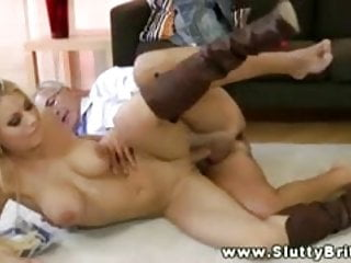 Sexy blonde babe getting old guy sex and loves it