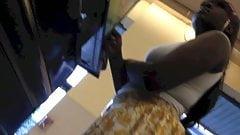 Ghetto black girl upskirt voyeur in supermarket