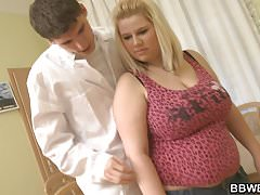 Big tits chubby blonde rides doctor's cock
