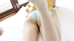 softcore asian tease in socks and panty