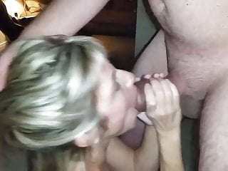 Shy wife sucking a fat cock