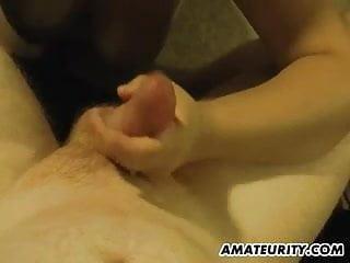 Chubby amateur Milf sucks and fucks with facial