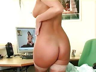 Pretty brunette masturbates in sheer stockings