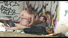 Homeless Threesome sex in the Street