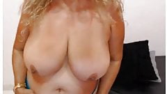 Latin granny big tits enjoys to fucks dildo on webcam