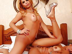 Big Dicked Transsexual Fucks a Real Girl