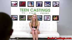 Casting teen pounded after fingering