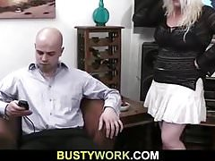 Busty blonde woman rides his meat