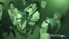Stuck in Elevator Maika and Aoi Miyama - More at caribbeanco