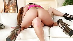 London Keyes and Mia Lelani fuck on the couch