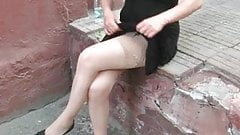 Girl in stockings without panties