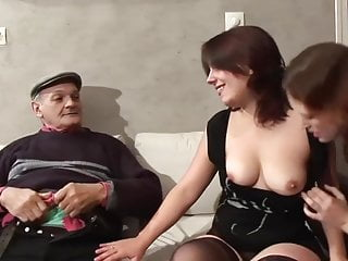 Two French sluts suck and fuck and old fella