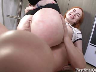 Red-haired Kira Roller tries out her first ass fuck
