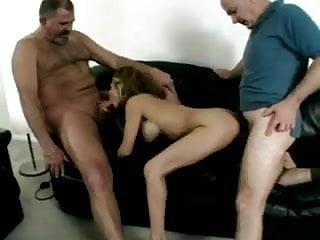 Sexy Babe Fucks 2 Old Guys