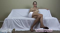 Secretary uses her pantyhose feet and striptease to land the