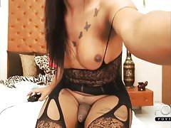 Latina shemale big cock cumshot