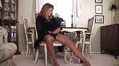 Michelle In Tan Stockings with Vibrator and Cock
