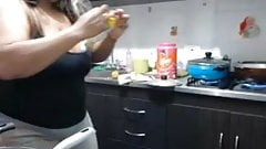 Spying on BBW with big ass in kitchen (no nudity)