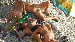 beach fun with two couples